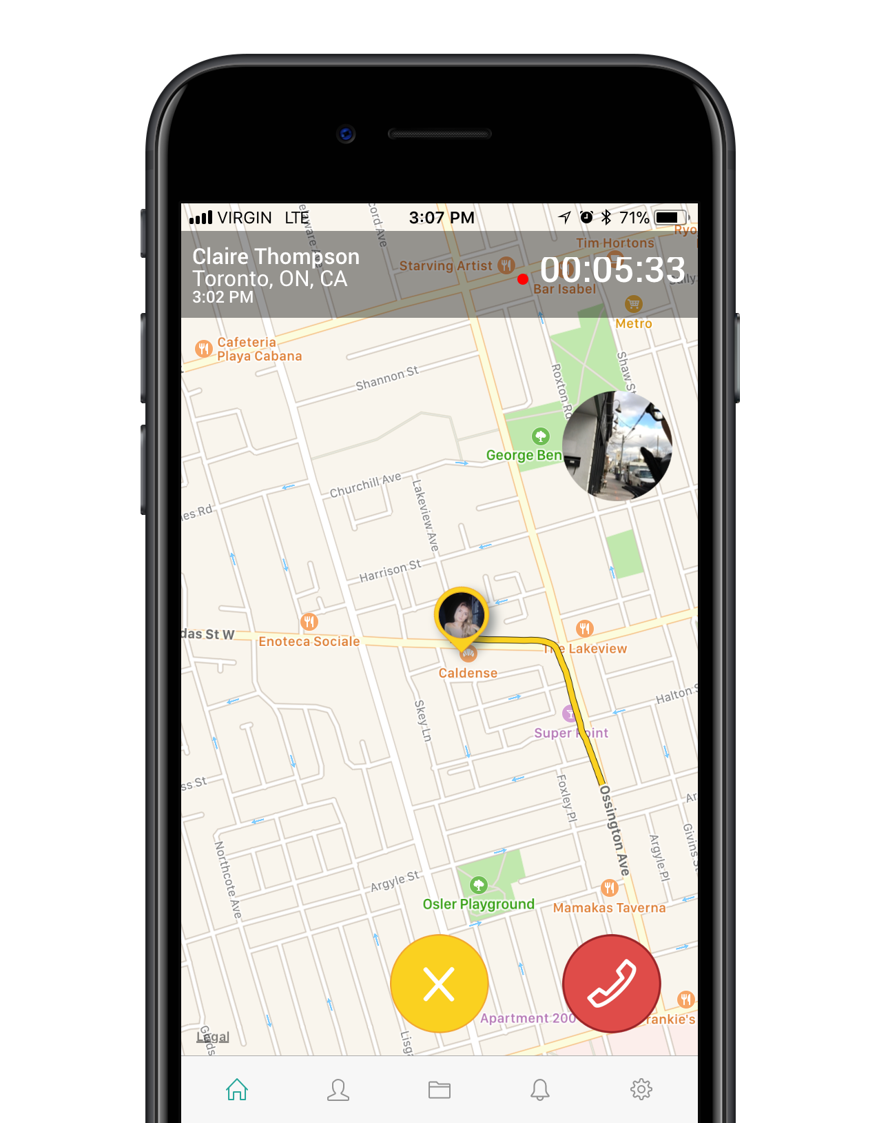 Easily share your location, photos, and audio infromation with your loved ones in real-time